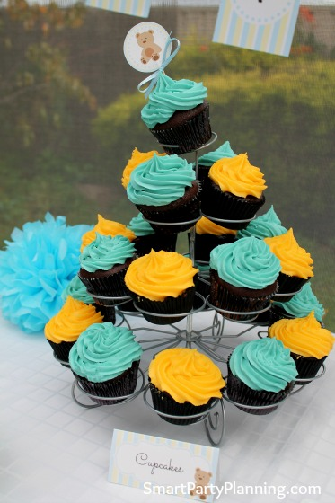 Blue and yellow chocolate cupcakes