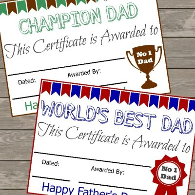 The Best Free Father's Day Certificate