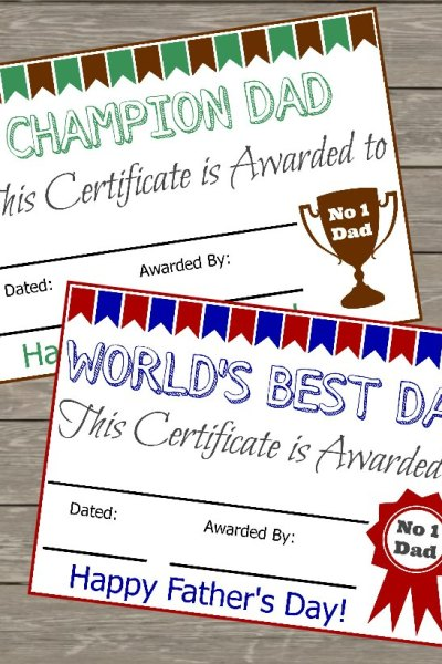 Free Fathers Day Certificate Featured