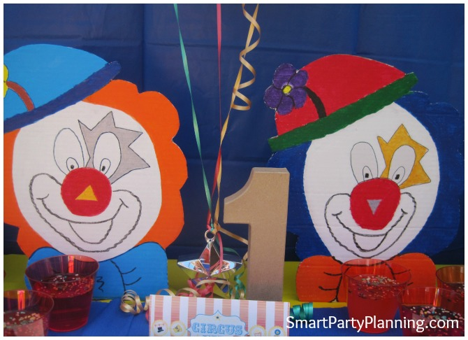 Carnival themed birthday party clowns