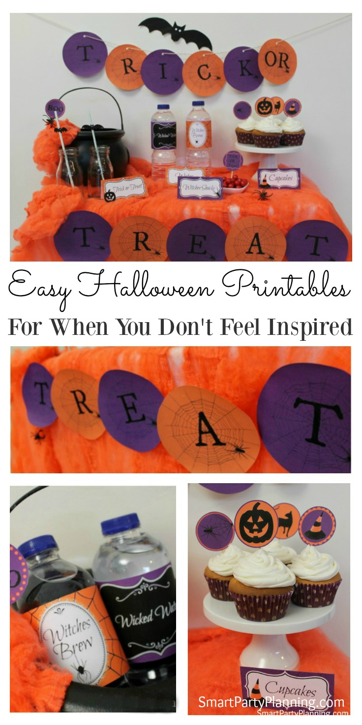 Halloween printables are perfect to use as easy decorations. The kids love them and they can also help with getting it all together. This Halloween set includes labels for water or soda bottles, cupcake toppers, food table tents and a Halloween banner. They will help make it fun to plan for an easy Halloween party.