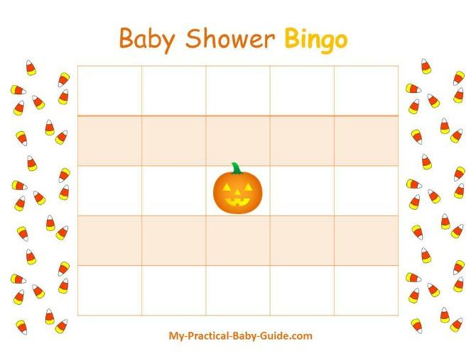 Halloween Printable Baby Shower Bingo
