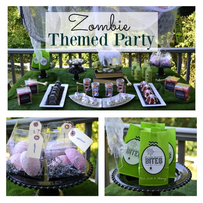 Zombie themed party collage