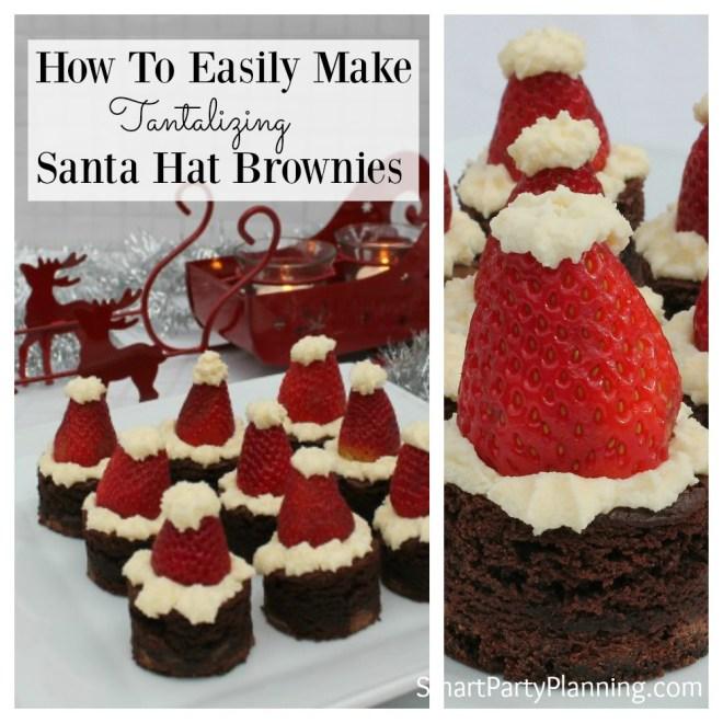 How To easily make santa hat brownies