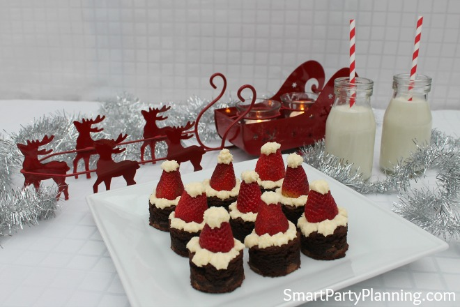 Strawberry cream santa hat brownies
