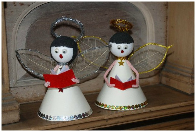 Handmade Christmas ornaments singing angels