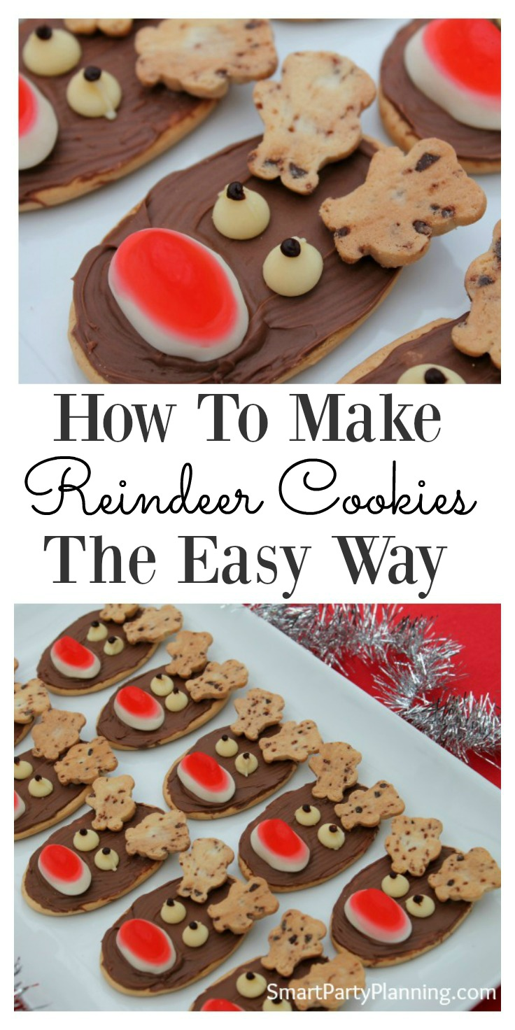 Looking to make some easy reindeer cookies for Christmas?  This is the tutorial for you. No baking is required and the kids can help (or even make themselves).  They are perfect for the whole family and can be enjoyed throughout the holidays.  They are super fun to look at and even better to eat.