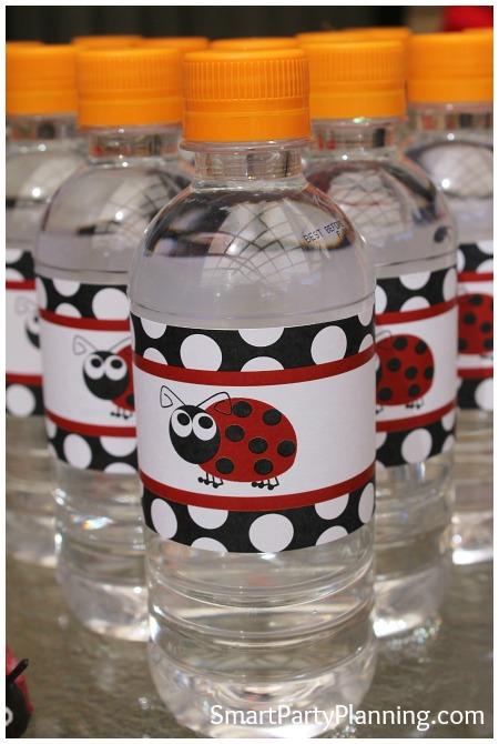 Ladybug Water bottle labels