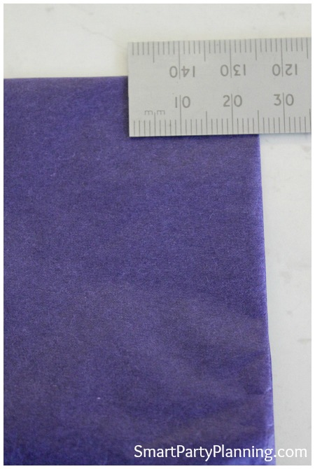 ruler with tissue paper