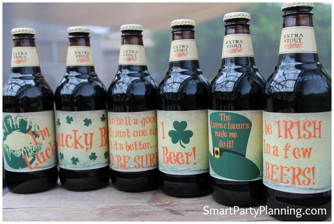 set of 6 homebrew beer labels for St patricks day