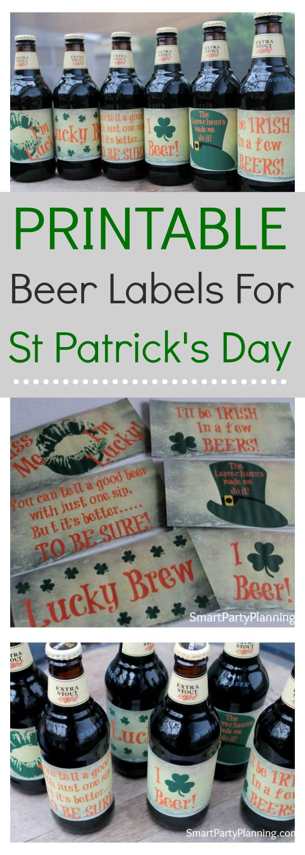 The perfect set of homebrew beer labels that you can use for your St Patrick's day celebrations. There is no need to wonder what you will put on your beer bottles now, when you can undertake a bit of DIY with the decorating.  All the hard work has been done making the beer, now have some fun with the labels too.  It's the perfect way to show off your home brew. #Homebrewbeerlabels #StPatricksday #DIY #Fun