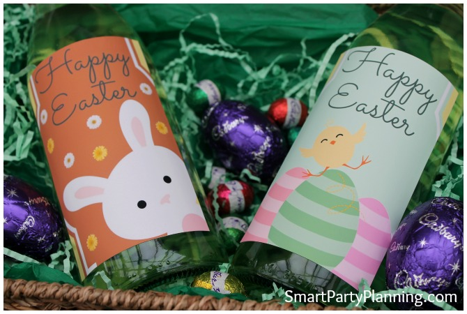 Close up of two Easter wine bottle labels