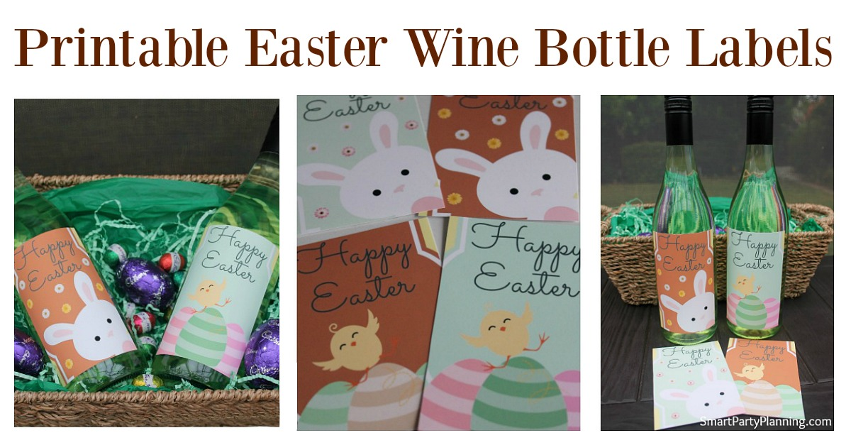 Printable Easter wine bottle labels