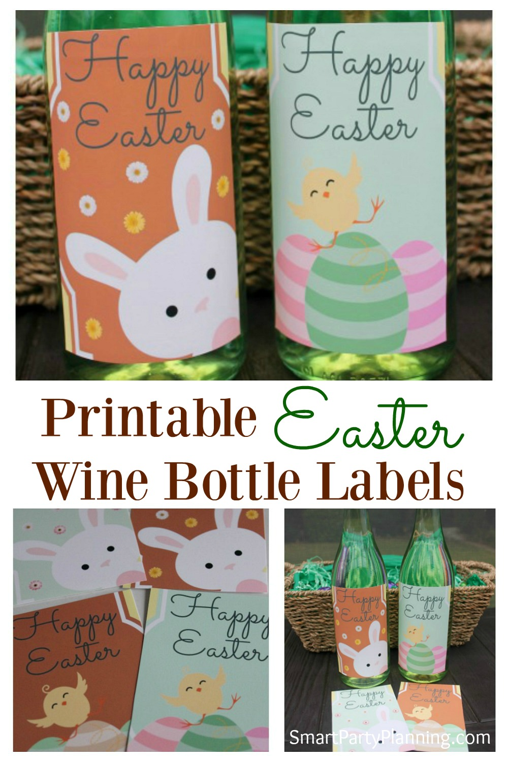 Set of four adorable Easter wine bottle labels design.  Use these printable's as cute ideas for an alternative Easter gift or to decorate the table wine for Easter lunch. Simply remove the existing wine bottle label to achieve the perfect Easter look. #winebottlelabels #Printable #Easter