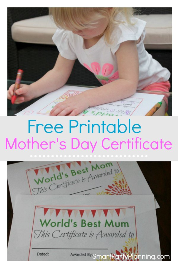 """A free printable mother's day certificate. Kids will love completing this just as much as mom's will love receiving it. This certificate is for the """"best mom"""" and makes the perfect gift idea. It's simple, it's easy and it's completely free."""
