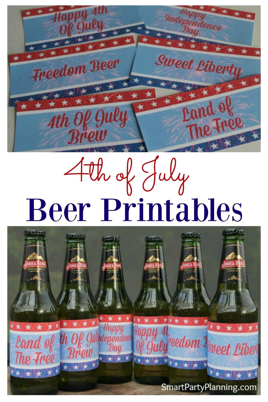 4th of July printables for beer bottles