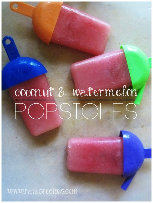 Coconut and Watermelon Popsicles