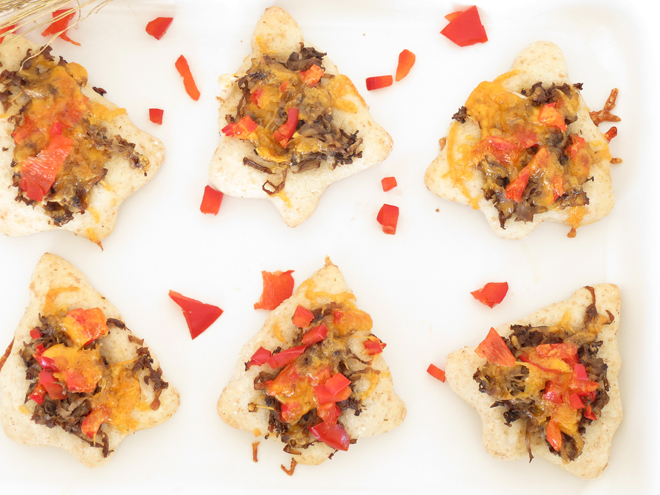 Christmas Mushroom Pizza Appetizers