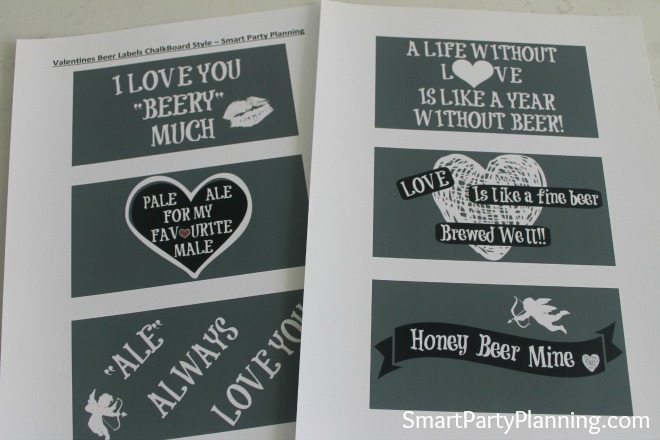 Print off the chalkboard Valentine beer labels