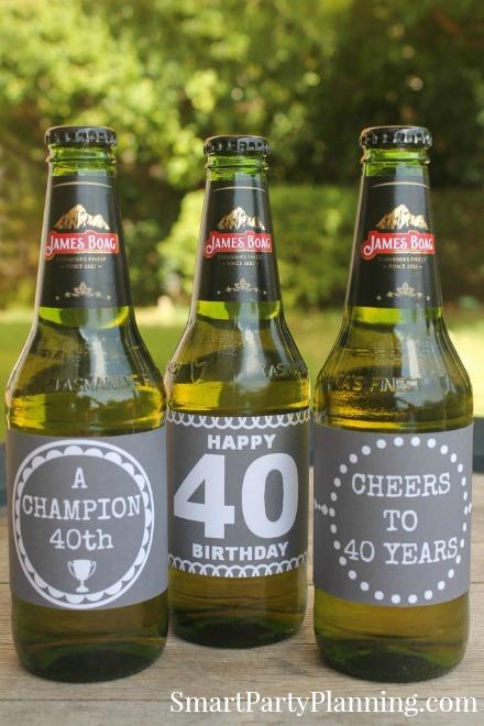 40th Birthday Chalkboard beer labels