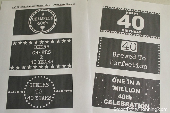 6 beer labels for a 40th birthday