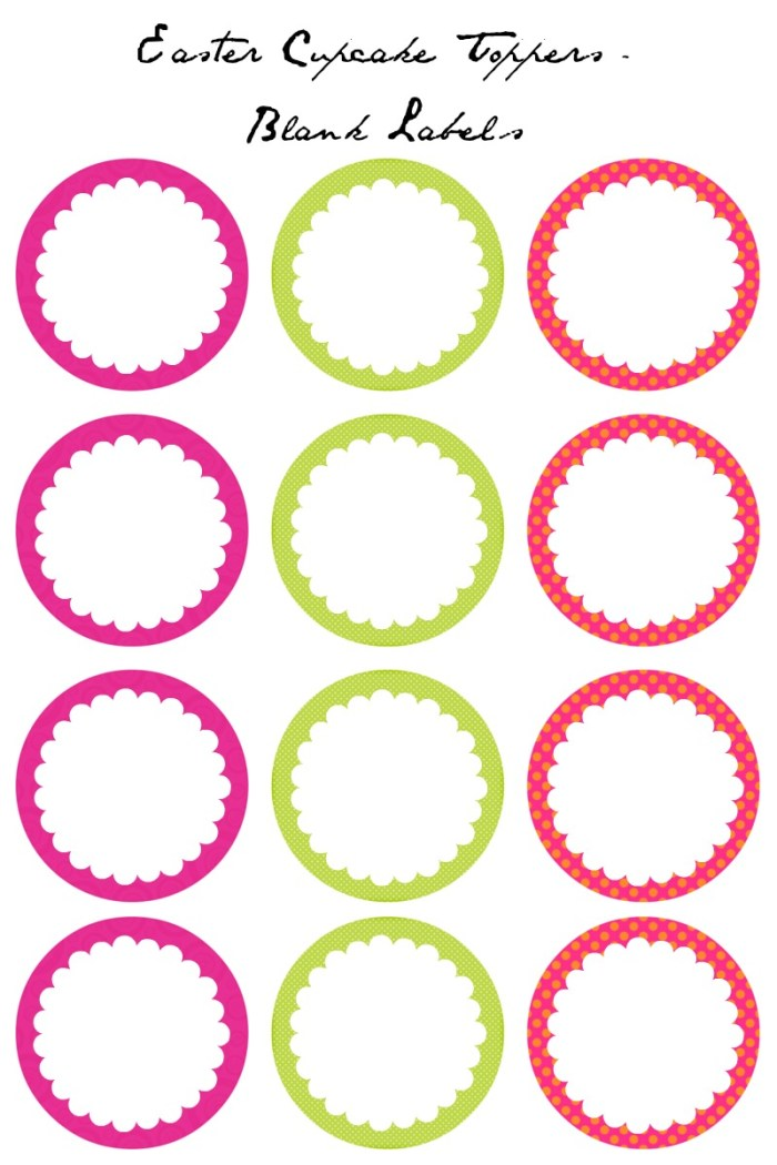 Easter Cupcake Toppers - Blank Labels