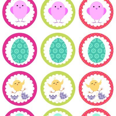 Colorful Easter Cupcake Toppers – Free Printables