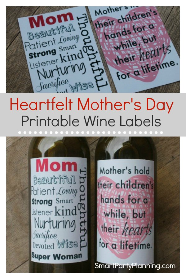 graphic about Printable Wine Label named The Highest Heartfelt Printable Moms Working day Wine Labels