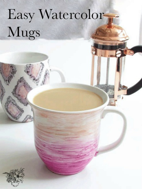 Easy Watercolour Mugs