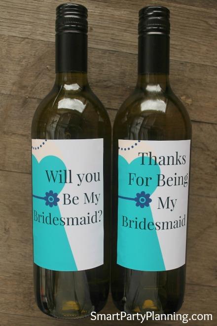 Printable Bridesmaid Wine Labels Teal