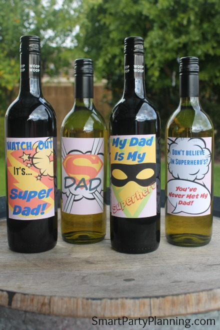 Father's day gifts don't need to be flash and expensive. For an awesome DIY gift, a bottle of his favorite wine complete with a super dad wine label is all that you need. With 4 awesome designs to choose from, he could have one or all four. This would be a great father's day gift from the kids, or to give to your own dad. You are never too old to be told you are super dad!