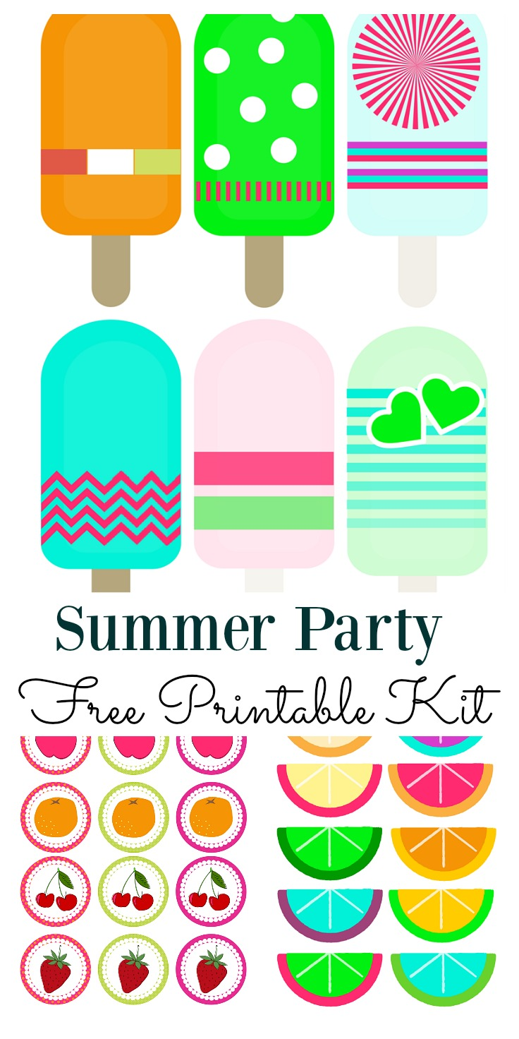 Use this summer party printable kit for all your social gatherings. It includes cupcake toppers, and printable's for you to craft your own labels, gift tags or garlands. They will brighten up any summer party decoration and definitely put a smile on your face.
