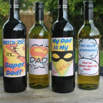 Cool Wine Labels For Super Dad For A Simple But Awesome Gift