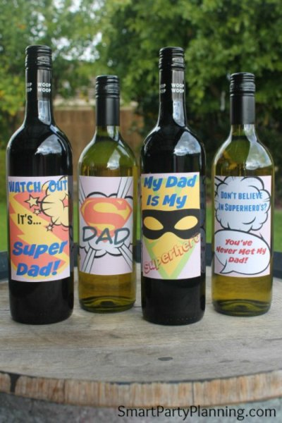 Featured printable set of super dad wine labels