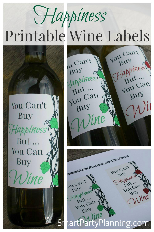 Happiness Printable Wine Label