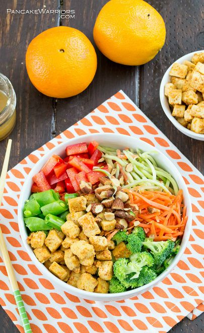 Orange tofu buddah bowl