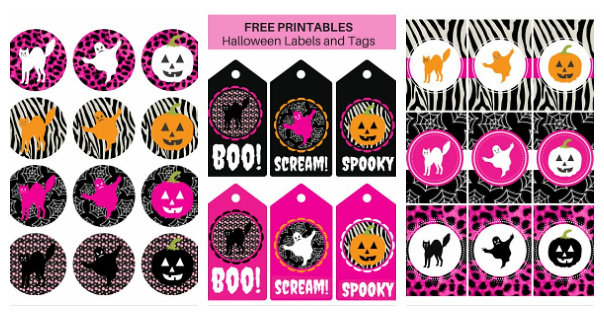 image about Free Printable Halloween Tags named No cost Printable Halloween Labels and Tags