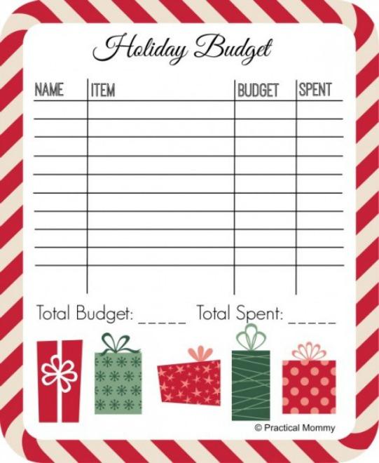 Holiday budget printable