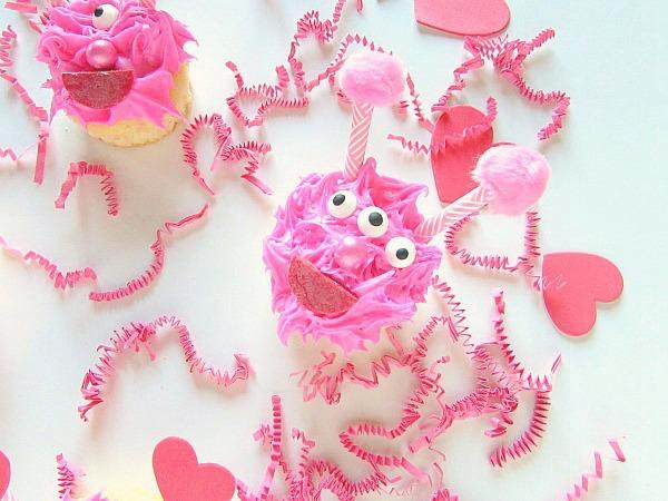 Pink love monster cupcake
