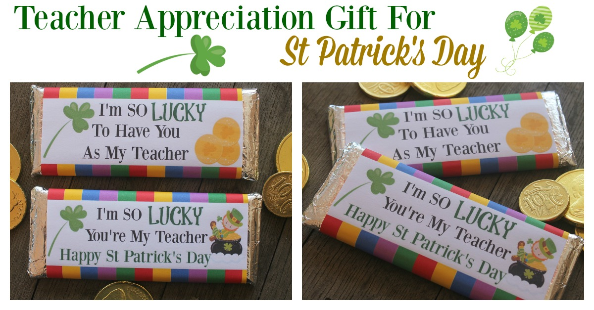 Looking for an easy DIY Teacher gift for St Patrick's day? Hershey bar wrappers make great DIY gifts that the kids will enjoy putting together and will love handing to their favorite teacher. They are also cost effective which is great for the family budget!