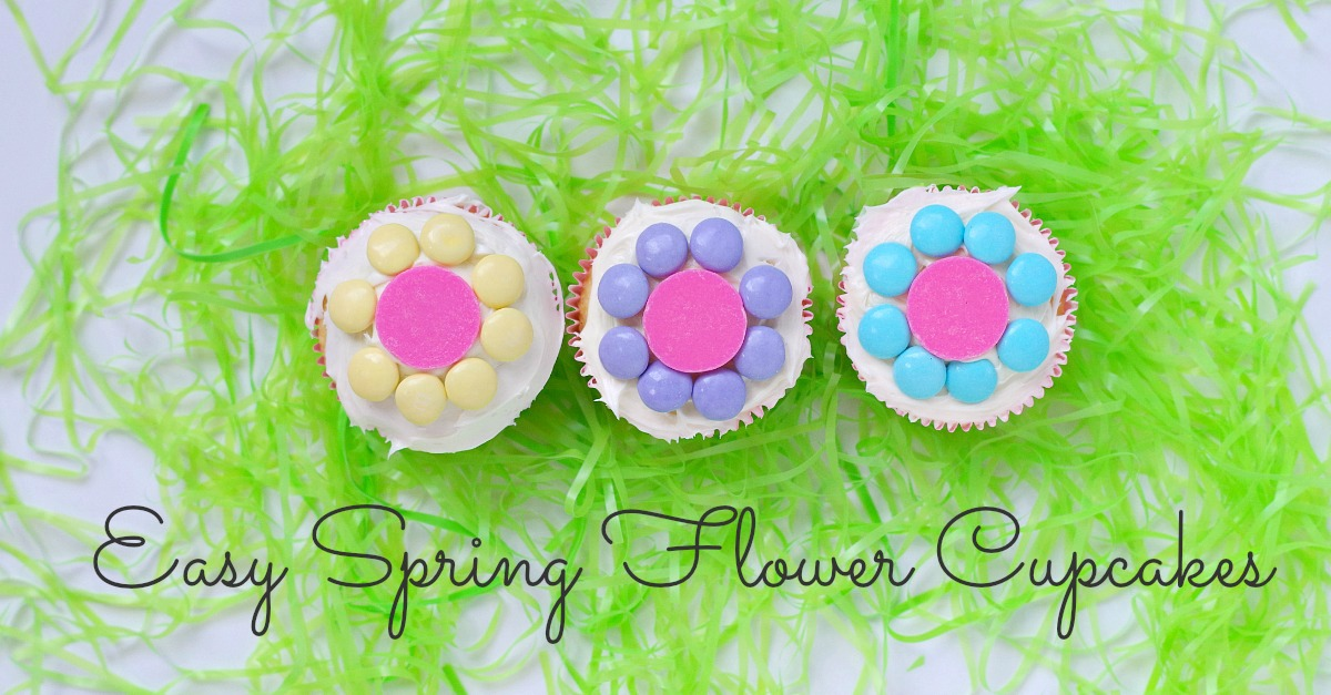 Easy spring flower cupcakes