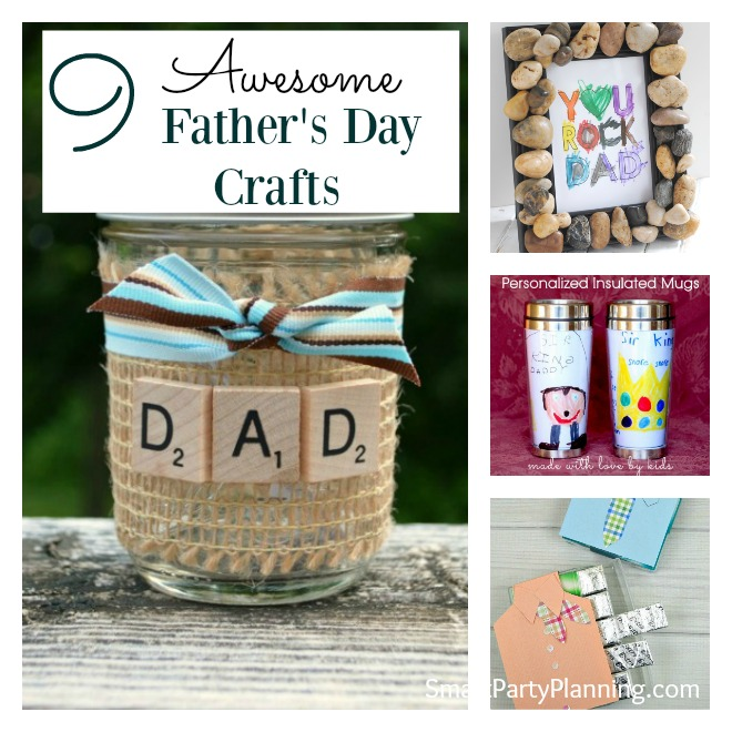 Collage of 9 father's day crafts for kids