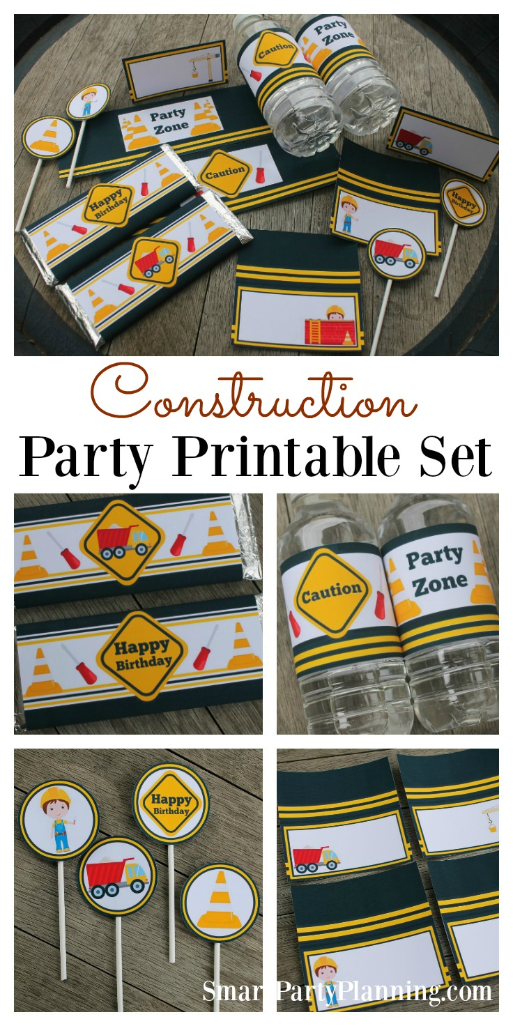 A construction birthday party is an ideal choice for those little ones that love building things...or tearing things apart! These construction party printables will help provide easy party decoration on a budget. DIY party decoration doesn't have to be difficult and with these food table tents, cupcake toppers, Hershey bar wrappers and water bottle labels, the party food table will simply look amazing. If you are in need of some boys party ideas, then this is your problem solved.