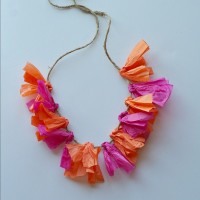 Colorful DIY tissue paper lei