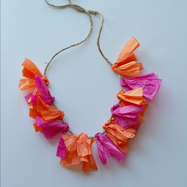 Colorful DIY tissue paper lei
