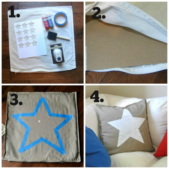 4 steps to making Patriotic Pillows