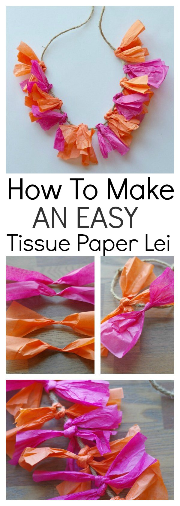 This tutorial shows a quick and easy way to make a tissue paper lei. It's perfect for summer parties, especially Hawaiian or pool party themes, and a craft that the kids can be involved in. It's bright, colourful and will be perfect for your summer entertaining.