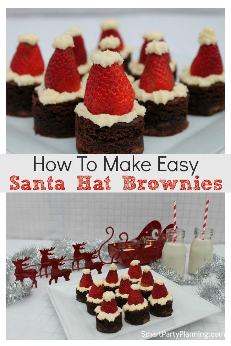 How to make easy Santa Hat Brownies