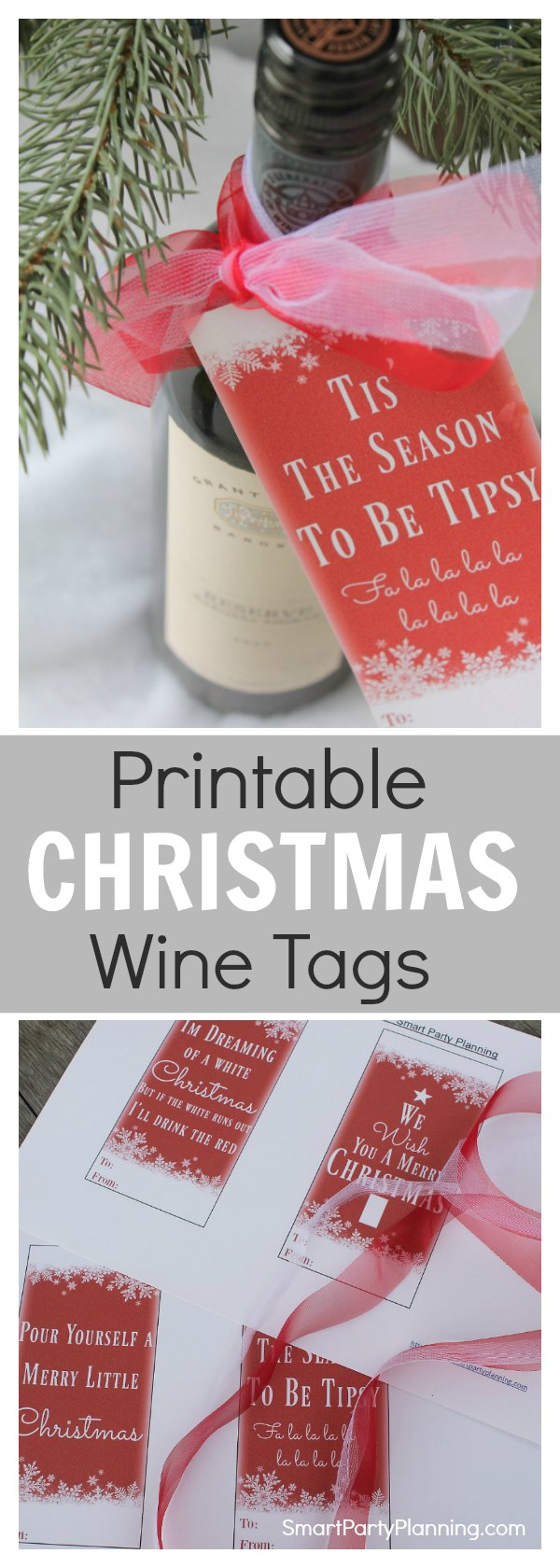 Easy DIY Christmas wine bottle tags. There are four designs to choose from, which easily attach to the neck of a wine bottle using your favorite Christmas ribbon. It's the perfect easy craft project for a quick Christmas or host gift.  Download the instant printable to use right away.  This is gift giving made easy.  Just print, cut and attach. It's super simple.  #Christmas #Winelover #Christmasgift #Wine #Printable #Instantdownload #Christmaswinetag #Winelabel #DIY #Craft