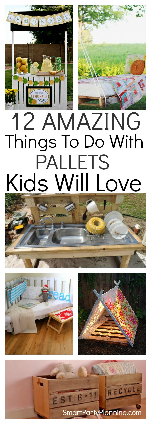 Looking for some things to do with pallets that the kids will love? This selection of DIY projects are for both the garden and in the home. But one thing is for sure, that they will all add beautiful décor to your home. 12 awesome ideas that you will have fun making and the kids will have fun playing with.